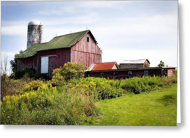 Historical Pictures Greeting Cards - Red barn in Groton Greeting Card by Gary Heller
