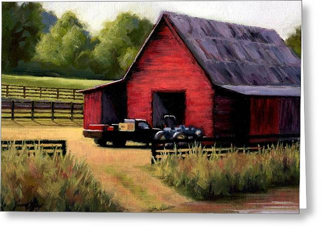 Hay Bales In Franklin Tennessee Paintings Greeting Cards - Red Barn in Leipers Fork Tennessee Greeting Card by Janet King