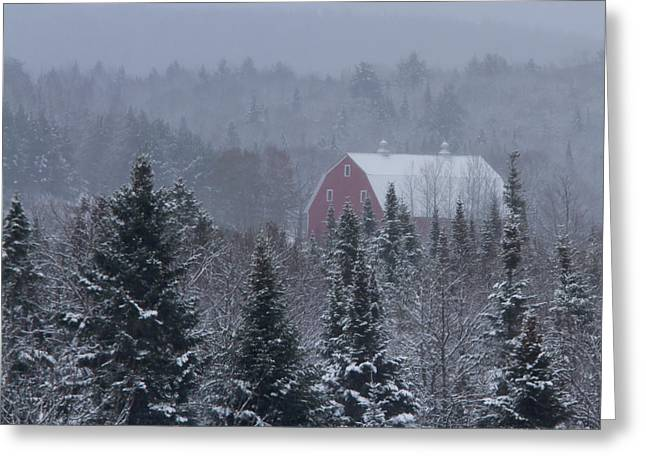 Winter In Maine Greeting Cards - Red Barn in Maine Greeting Card by Jack Zievis