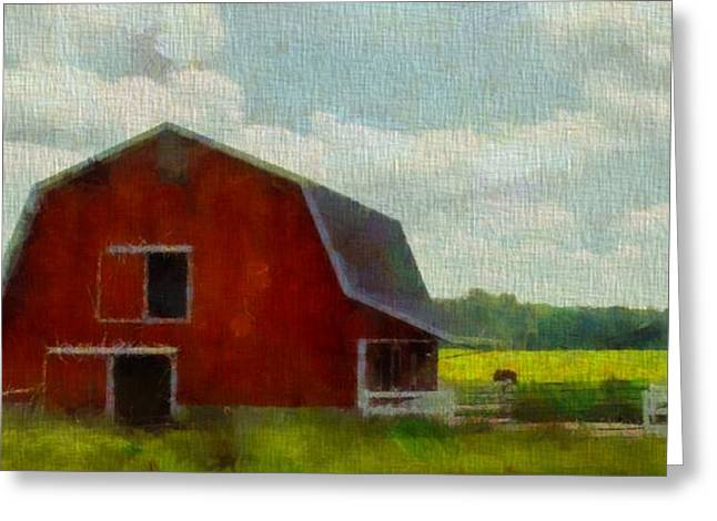 Red Barn In Ohio Greeting Card by Dan Sproul