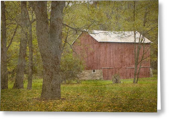 Harvest Art Greeting Cards - Red Barn in Rural West Michigan Greeting Card by Randall Nyhof