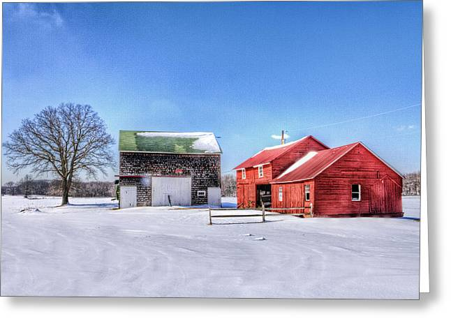 Shed Digital Art Greeting Cards - Red Barn in snow Greeting Card by Geraldine Scull