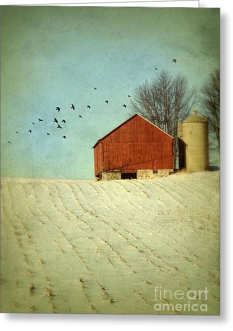 Rural Snow Scenes Greeting Cards - Red Barn in Snow Greeting Card by Jill Battaglia