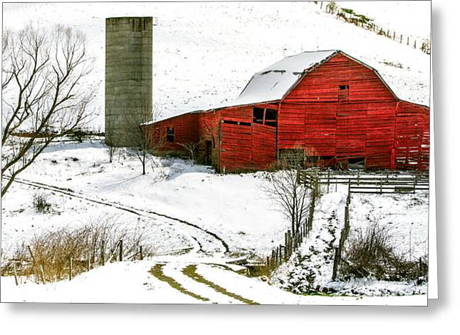 Snowstorm Photographs Greeting Cards - Red Barn in Snow Greeting Card by John Haldane