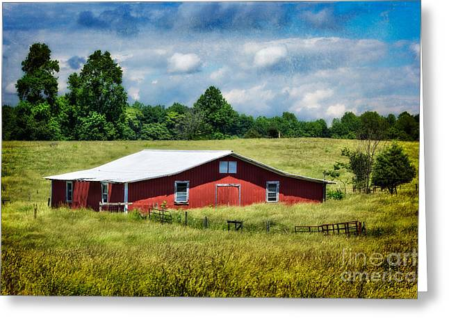 Surreal Barn Prints Greeting Cards - Red Barn in Spring Green II Greeting Card by Dan Carmichael
