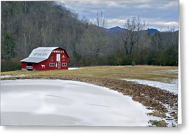Red Barn In Tate City Greeting Card by Susan Leggett