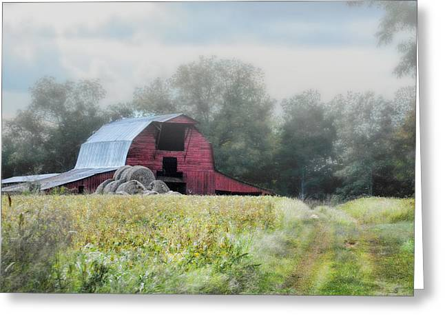Hay Bales Greeting Cards - Red Barn In The Fog Greeting Card by Jai Johnson