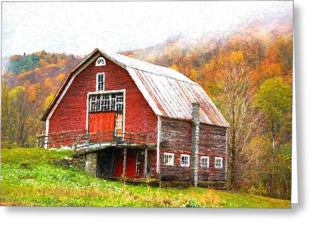 Red Roofed Barn Mixed Media Greeting Cards - Red Barn In The Mountains Greeting Card by Garland Johnson