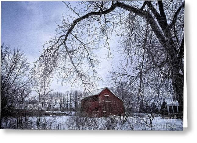 Snowstorm Greeting Cards - Red Barn in the Snow Greeting Card by HD Connelly