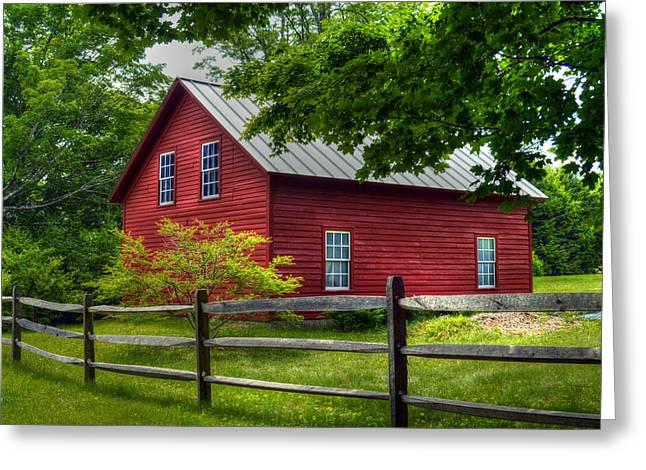 Berkshires Of New England Greeting Cards - Red Barn in Tyringham - Berkshire County Greeting Card by Geoffrey Coelho