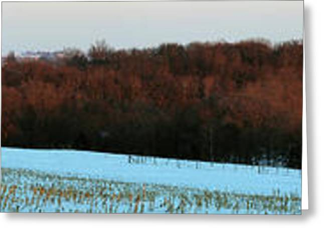 Red Barn In Winter After A Fresh Greeting Card by Panoramic Images