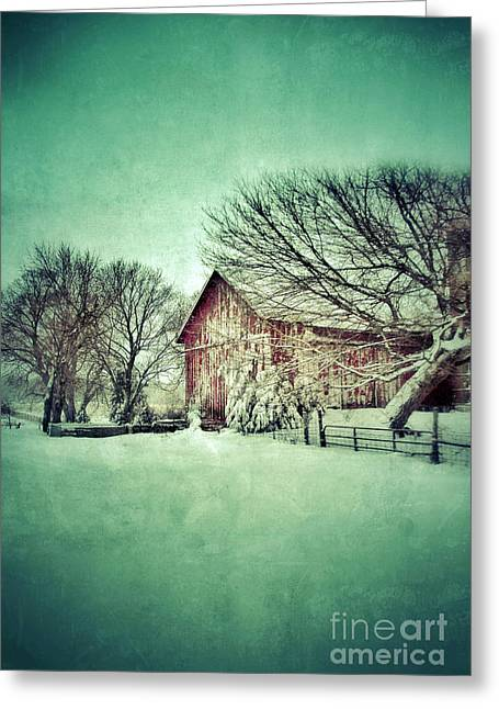 Winter Scenes Rural Scenes Greeting Cards - Red Barn in Winter Greeting Card by Jill Battaglia