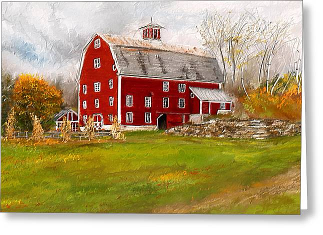 Farm Scenes Greeting Cards - Red Barn in Woodstock Vermont- Red Barn Art Greeting Card by Lourry Legarde