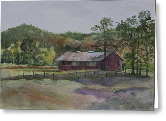 Tennessee Barn Greeting Cards - Red Barn Greeting Card by Janet Felts