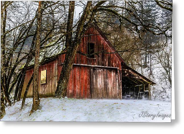 Hayloft Greeting Cards - Red Barn Greeting Card by Jimmy Story