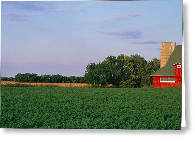 Illinois Barns Photographs Greeting Cards - Red Barn Kankakee Il Usa Greeting Card by Panoramic Images