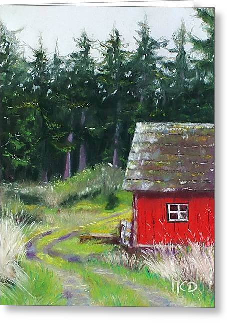 Old Barns Pastels Greeting Cards - Red Barn Greeting Card by Marie-Claire Dole