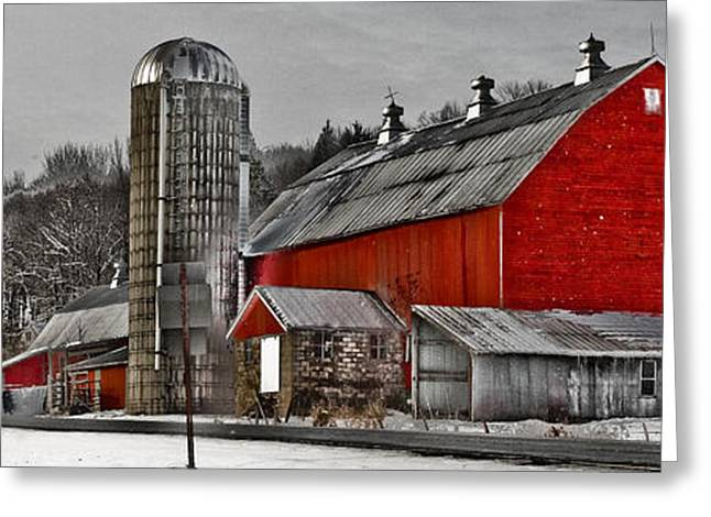 Preston Farm Greeting Cards - Red Barn No. 1 Greeting Card by Patsy Zedar