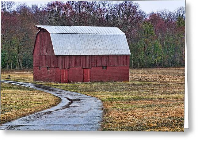 Black Top Greeting Cards - Red Barn of Southern Maryland Greeting Card by Lori Hutchison