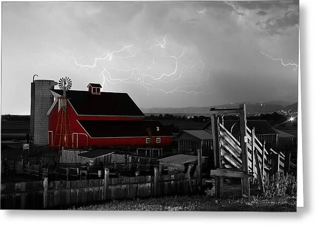 Lohr-mcintosh Farm Greeting Cards - Red Barn On The Farm and Lightning Thunderstorm BWSC Greeting Card by James BO  Insogna
