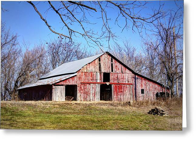 Southern Boone County Greeting Cards - Red Barn on the Hill Greeting Card by Cricket Hackmann