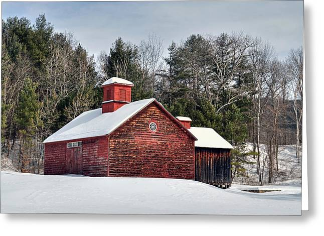 New England Snow Scene Greeting Cards - Red Barn on Tyringham Road - Square Greeting Card by Geoffrey Coelho