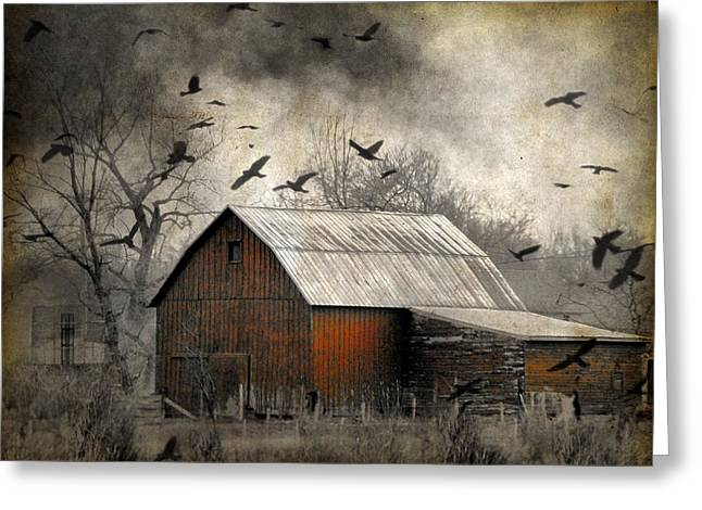 Clouds In Motion Greeting Cards - The Old Red Barn Greeting Card by Gothicolors Donna Snyder