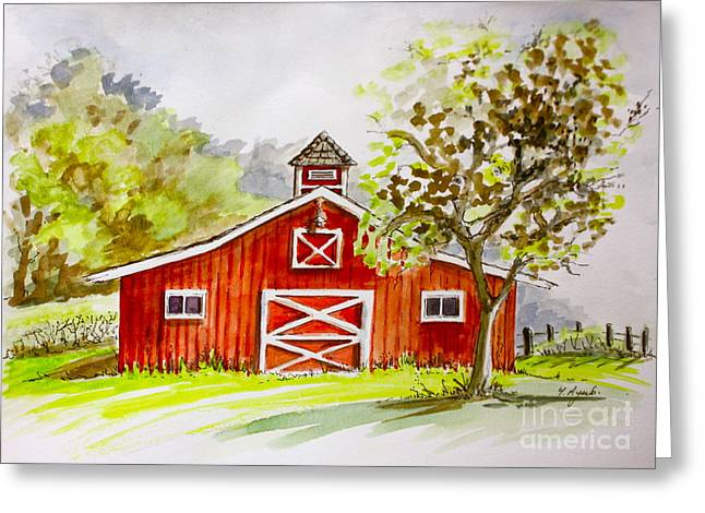 Red Barn Quebec Canada Greeting Card by Yvonne Ayoub