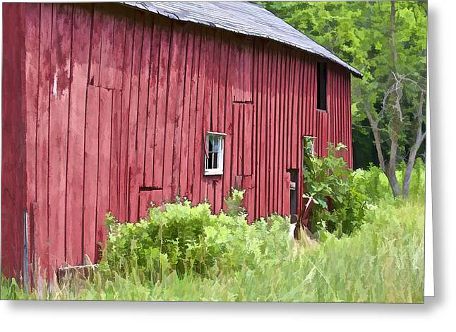 Red Barn Side Greeting Card by David Letts