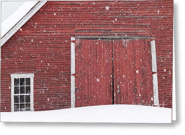 Red Roofed Barn Greeting Cards - Red Barn Snowfall Greeting Card by Alan L Graham