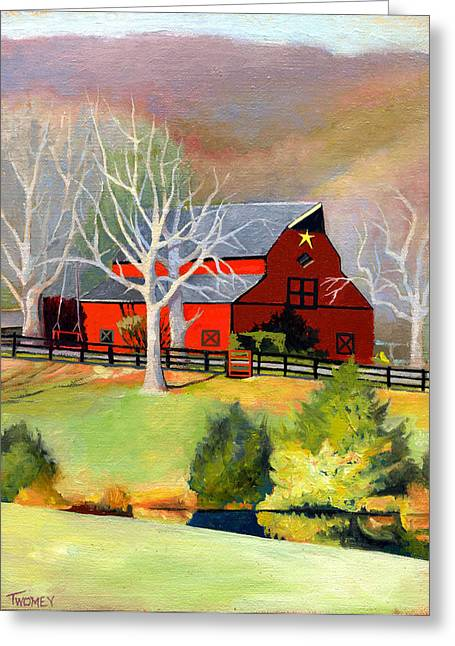 Red Barn Star  Greeting Card by Catherine Twomey