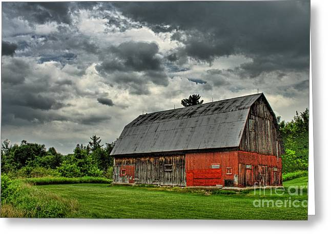 Field. Cloud Greeting Cards - Red Barn Greeting Card by Tim Wilson