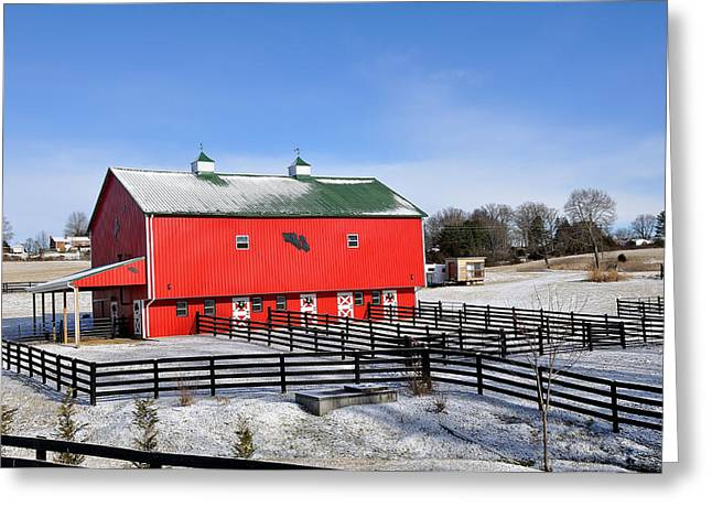 Red Roofed Barn Greeting Cards - Red Barn Greeting Card by Todd Hostetter