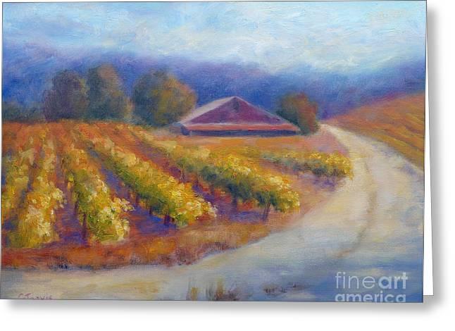 California Vineyard Paintings Greeting Cards - Red Barn Vineyard Greeting Card by Carolyn Jarvis