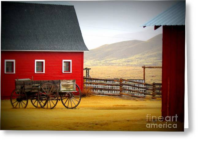 Red Roofed Barn Greeting Cards - Red Barn w/ Wagon Greeting Card by Krista Carofano