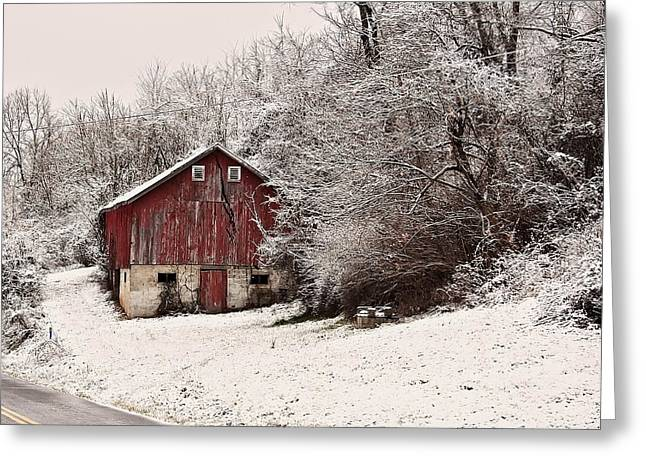 Landscape Posters Digital Greeting Cards - red barn West Virginia Greeting Card by Chris Flees