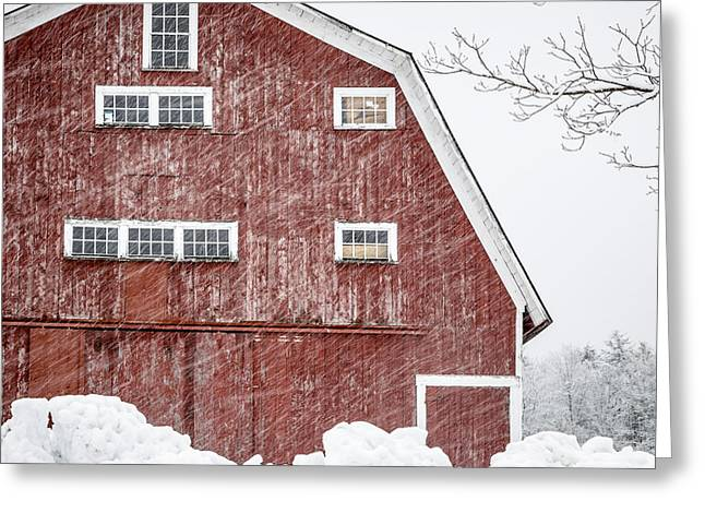 Square Format Greeting Cards - Red Barn Whiteout Greeting Card by Edward Fielding
