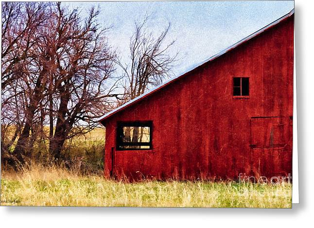 Outbuildings Digital Art Greeting Cards - Red Barn Window View Greeting Card by Anna Surface
