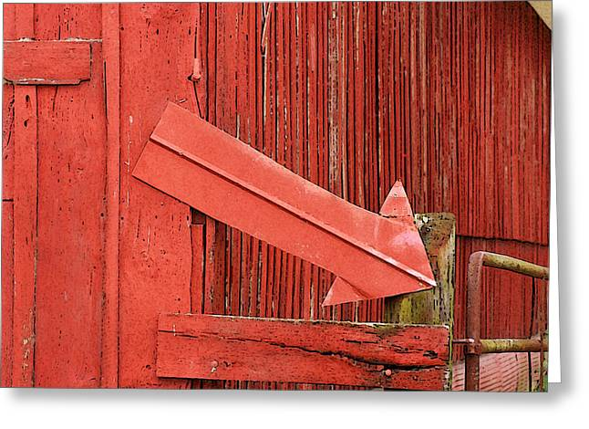 Red Barn With Arrow Greeting Card by Art Block Collections