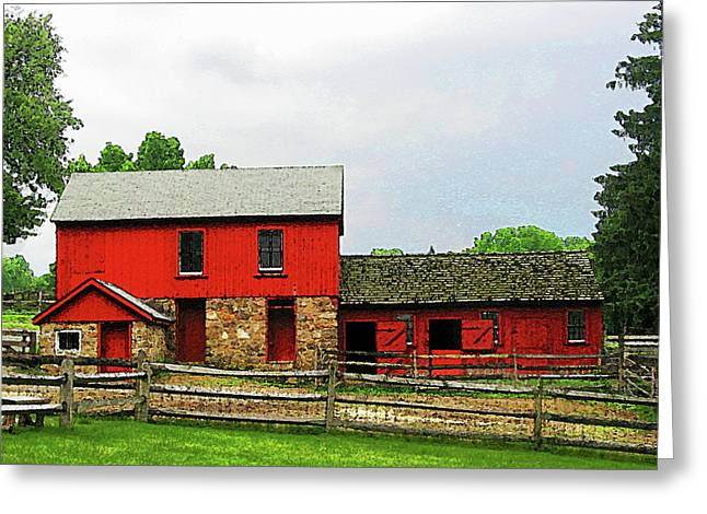 Barns Greeting Cards - Red Barn with Fence Greeting Card by Susan Savad