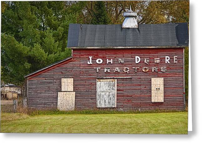 Randy Greeting Cards - Red Barn with John Deere Tractor Sign Greeting Card by Randall Nyhof