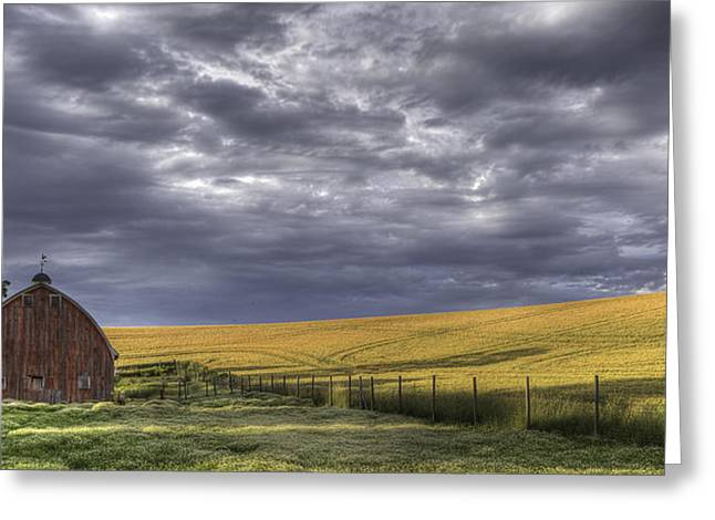 Idaho Scenery Greeting Cards - Red Barn with Lamas Greeting Card by Latah Trail Foundation