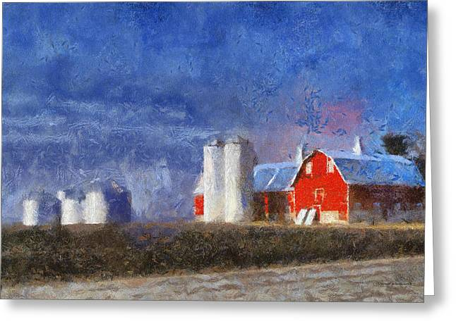 Wooden Building Greeting Cards - Red Barn with Silos Photo Art 02 Greeting Card by Thomas Woolworth