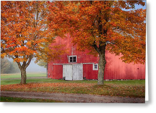 Photos Of Autumn Digital Greeting Cards - Red Barn With White Barn Door Greeting Card by Jeff Folger