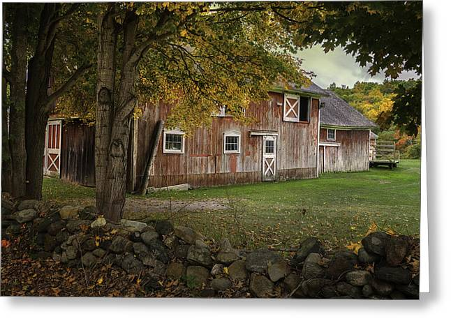 Old Country Roads Greeting Cards - Red Barns and Stone fences-New England Traditions Greeting Card by Thomas Schoeller
