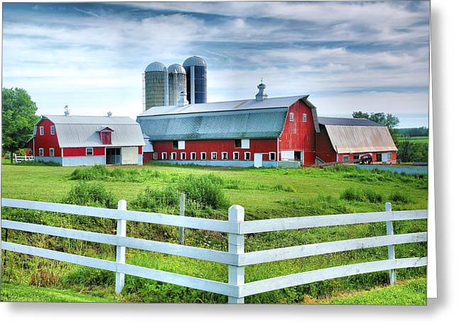 Barn Landscape Photographs Greeting Cards - Red Barns and White Fence Greeting Card by Steven Ainsworth