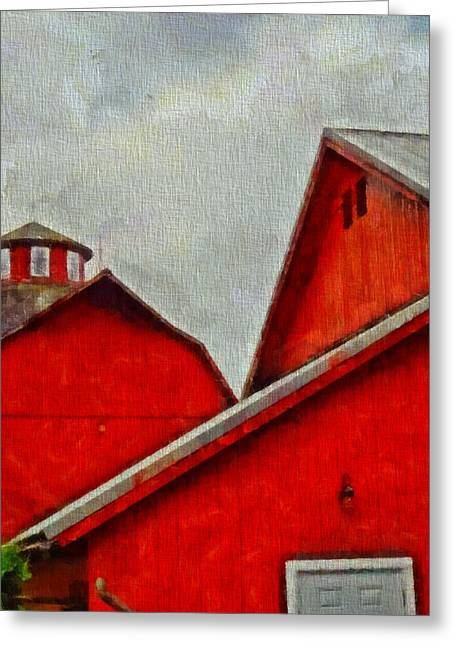 Amish Farms Mixed Media Greeting Cards - Red Barns At Amish Acres Greeting Card by Dan Sproul