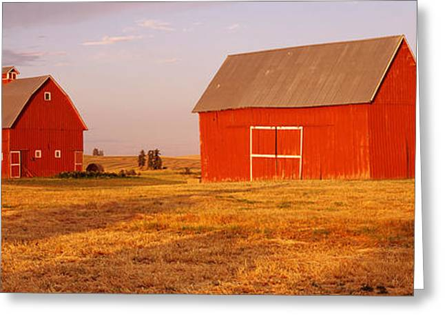Bales Greeting Cards - Red Barns In A Farm, Palouse, Whitman Greeting Card by Panoramic Images