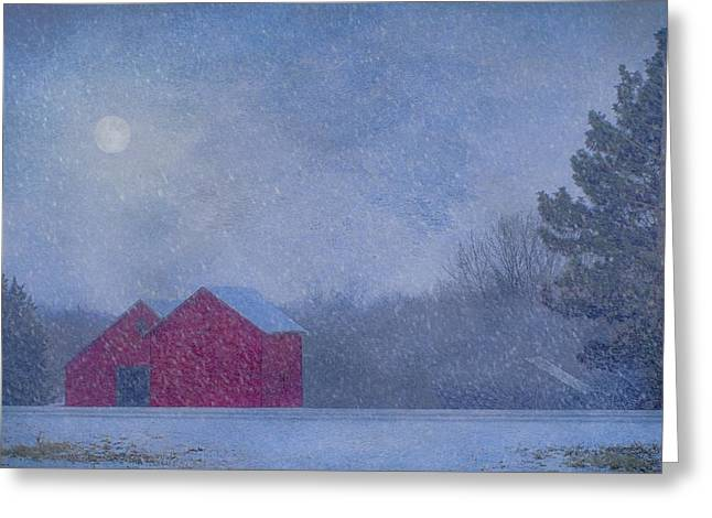 Snowy Night Greeting Cards - Red Barns in the Moonlight Greeting Card by Nikolyn McDonald