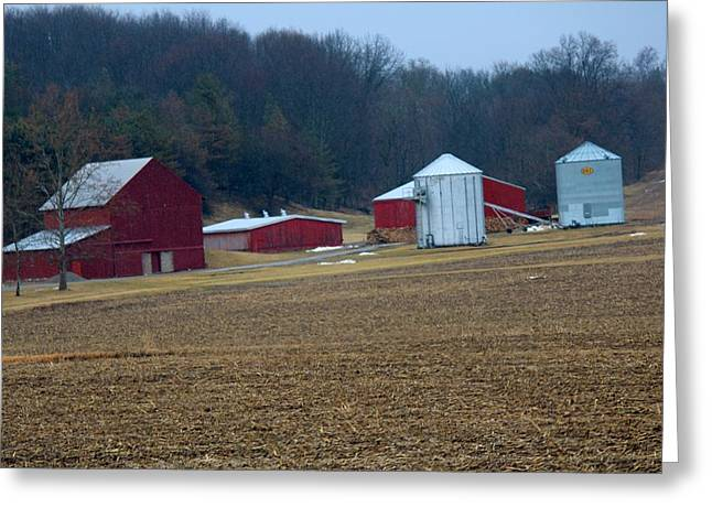 Farm Life Framed Prints Greeting Cards - Red Barns Greeting Card by R A W M